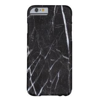 Grano de piedra de mármol negro/textura funda de iPhone 6 barely there