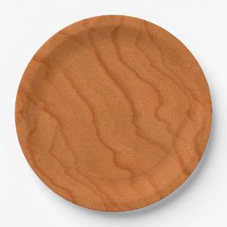 Grano fino de la mirada de madera de la cereza plato de papel 22,86 cm