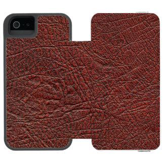 Grano fino del cuero de la sangre del buey quemado funda billetera para iPhone 5 watson