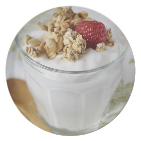 Granola, Oats, Toasted, Fruit, Berry, Raspberry, Dinner Plate
