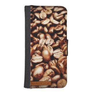 Granos de café acogedores funda billetera para teléfono