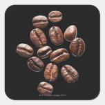 Granos de café asados pegatina cuadradas personalizadas