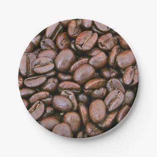 Granos de café asados platos de papel