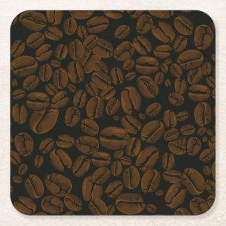 Granos de café asados posavasos desechable cuadrado