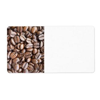 Granos de café etiquetas de envío
