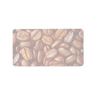 Granos de café etiquetas de dirección
