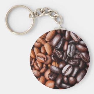 Granos de café - luz entera y oscuridad asadas llavero redondo tipo pin