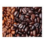 Granos de café - luz entera y oscuridad asadas postal