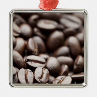 Granos de café orgánicos de la montaña púrpura de adorno navideño cuadrado de metal