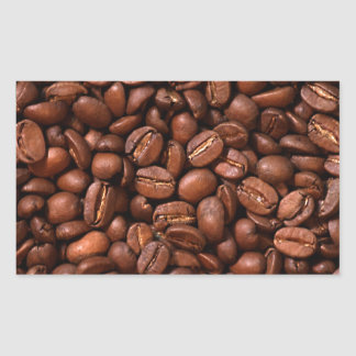 Granos de café pegatina rectangular