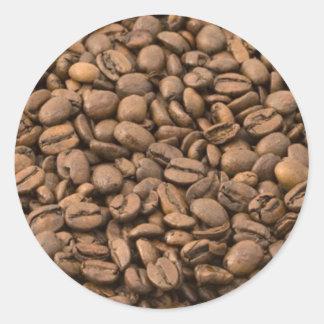 Granos de café pegatina redonda