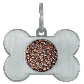 Granos de café placas de nombre de mascota