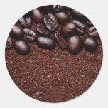 Granos de café - plantillas modificadas para etiquetas redondas