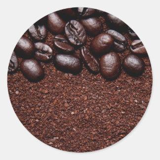 Granos de café - plantillas modificadas para pegatina redonda