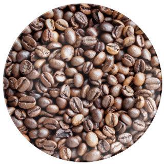 Granos de café platos de cerámica
