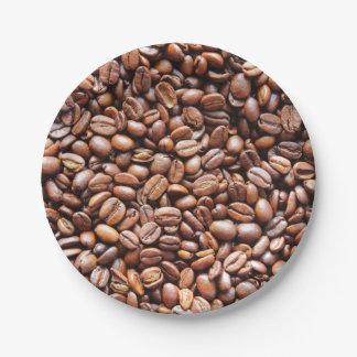 Granos de café platos de papel