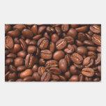 Granos de café rectangular pegatina