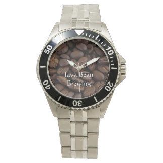 Granos de café reloj de mano