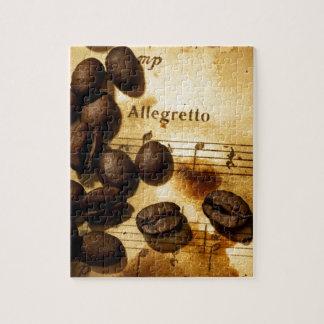 Granos de café y notas de la música puzzles con fotos