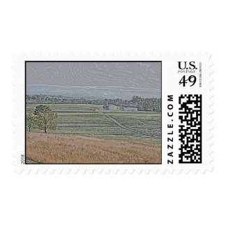 Granos del otoño y camino de campo de Amish Sello