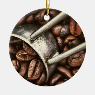 Granos y cucharada de café ornamento para arbol de navidad
