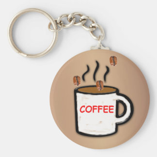 Granos y taza de café llavero redondo tipo pin