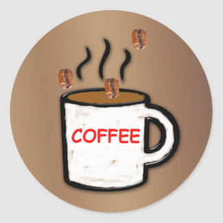 Granos y taza de café pegatina redonda