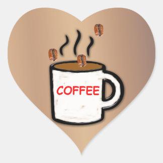 Granos y taza de café pegatina en forma de corazón