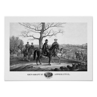 Grant And Lee At Appomattox -- Civil War Poster