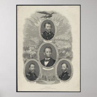 Grant, Lincoln, Sheridan, Sherman Posters