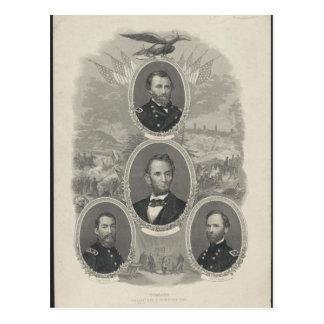 Grant, Lincoln, Sheridan, Sherman Postales