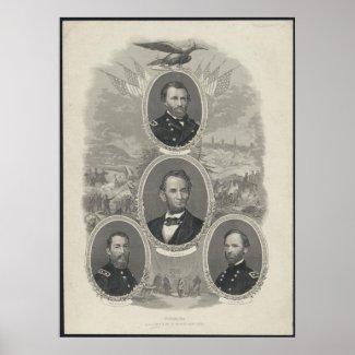 Grant, Lincoln, Sheridan, Sherman print