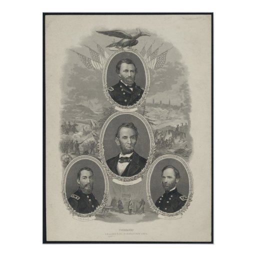 Grant, Lincoln, Sheridan, Sherman Poster
