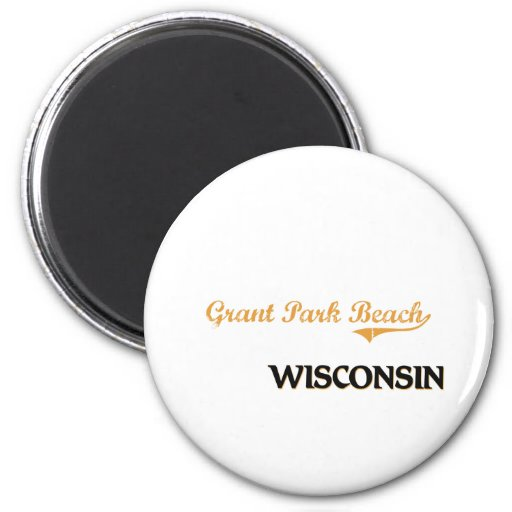 Grant Park Beach Wisconsin Classic 2 Inch Round Magnet
