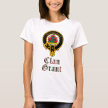 Grant scottish crest and tartan clan name T-Shirt