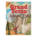 Grant Teton national park Vintage Travel Poster Postcard