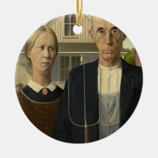 GRANT WOOD - American gothic 1930 Ceramic Ornament