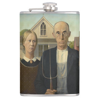 GRANT WOOD - American gothic 1930 Hip Flask
