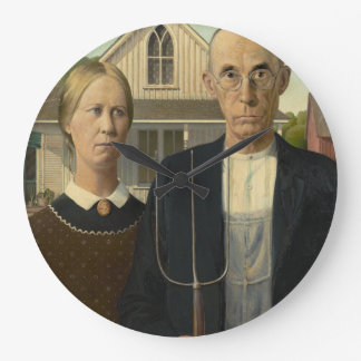 GRANT WOOD - American gothic 1930 Large Clock