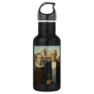 GRANT WOOD - American gothic 1930 Stainless Steel Water Bottle