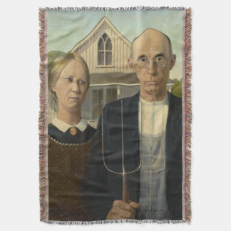 GRANT WOOD - American gothic 1930 Throw