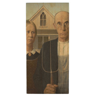 GRANT WOOD - American gothic 1930 Wood Flash Drive