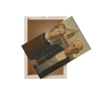 GRANT WOOD - American gothic 1930 Wooden Keepsake Box