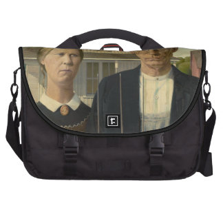 Grant Wood - American Gothic Bags For Laptop