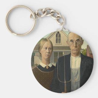 Grant Wood American Gothic Basic Round Button Keychain