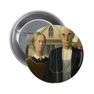 Grant Wood - American Gothic Pinback Button