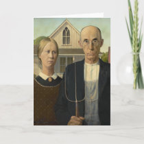 Grant Wood American Gothic Card
