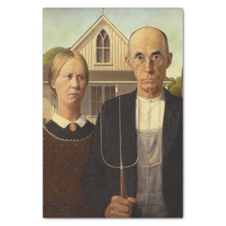 """Grant Wood American Gothic Fine Art Painting 10"""" X 15"""" Tissue Paper"""