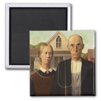 Grant Wood American Gothic Fine Art Painting 2 Inch Square Magnet