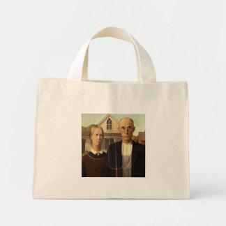Grant Wood American Gothic Fine Art Painting Mini Tote Bag